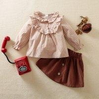 hibobi Toddle Girl Ruffle Doll Collar Long Sleeve Top & Skirt - Hibobi