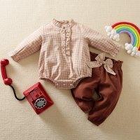 hibobi Baby Girl Ruffle Long Sleeve Romper & Bow Pant - Hibobi