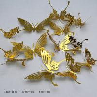 12 mariposas huecas metálicas 3D - Hibobi