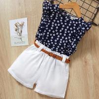 2-piece Floral Sleeveless Polka Dot Printed T-Shirt and Shorts Set - Hibobi
