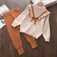 Toddler Girl Color-block Bowknot Decor Top & Pants - Hibobi
