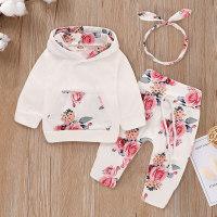 3-piece Floral Hoodie, Pants and Headband Set - Hibobi