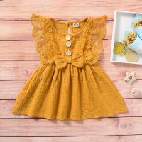 Solid Lace Dress for Baby Girl - Hibobi
