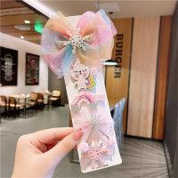 Pinza de pelo encantadora de bloque de color para niña pequeña 5 piezas - Hibobi