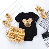 4-Piece Romper, Gold PP Shorts and Shoes with Headband - Hibobi
