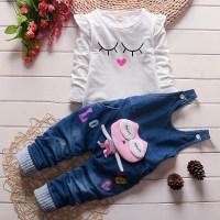 2-piece Solid Ruffle Tops & Denim Dungarees for Toddler Girl - Hibobi