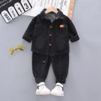 2-piece Solid Denim Shirt & Pants for Toddler Boy(No Shoes) - Hibobi