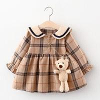 Plaid Lapel Collar Dress for Toddler Girl - Hibobi