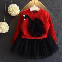 Vestido de tul de retazos con estampado de cisne para niña pequeña - Hibobi