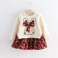 Rabbit Pattern Floral Printed Dress for Toddler Girl - Hibobi