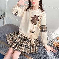 Kid Girl Bear Blusa bordada y falda plisada a cuadros - Hibobi