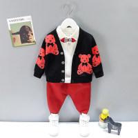 Camiseta de color liso para niño pequeño y abrigo y pantalones con estampado de oso - Hibobi