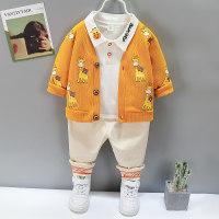 Camiseta con estampado de letras para niño pequeño y abrigo y pantalones con estampado de jirafa - Hibobi