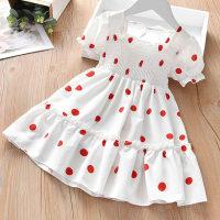 Toddler Girl Puff Sleeve Polka Dot Dress - Hibobi