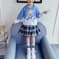 Niño niña patrón de dibujos animados con capucha y falda a cuadros - Hibobi