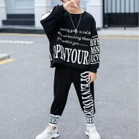 Kid Boy Top y pantalones con estampado de letras - Hibobi