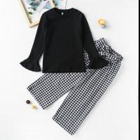 Pantalones a cuadros y camiseta de manga larga de color liso para niños y niñas - Hibobi