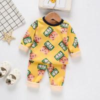 Toddler Boy Bear Pattern Round Collar Pajamas Top & Pants - Hibobi