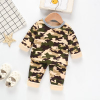 Toddler Boy Camouflage Round Collar Pajamas Top & Pants - Hibobi