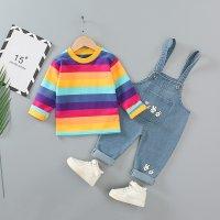 Camiseta y overoles de manga larga a rayas para niña pequeña - Hibobi