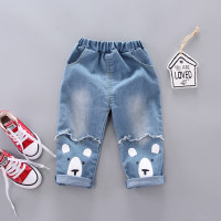 Casual Dog Print Jeans - Hibobi