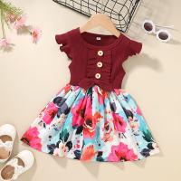 Toddler Girl Ruffle Sleeves Ribbed Floral Print Derss - Hibobi