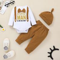 Baby Boy Letter Print Bow Decor Body y pantalones y sombrero - Hibobi