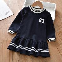 Vestido de rayas con estampado de números para niña pequeña - Hibobi