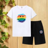 Boy Rainbow Smiley T-shirt & Sports Shorts - Hibobi