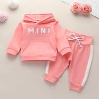 2-piece Letter Pattern Hoodie & Pants for Baby Girl - Hibobi