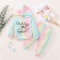 Baby Girl Tie-dye Hooded Top & Tie-dye Pants - Hibobi