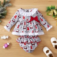 Camiseta y pantalones cortos con estampado de personajes navideños para bebé niña - Hibobi