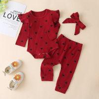 Body de canalé con estampado en forma de corazón para bebé niña, pantalones y diadema - Hibobi