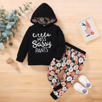 Pantalones y sudadera con capucha y estampado floral con letras para niña pequeña - Hibobi