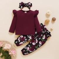 Toddler Girl Solid Color Top & Floral Print Pants & Headband - Hibobi
