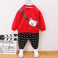 Pantalón y top con estampado de letras con estampado de oso para niño pequeño - Hibobi
