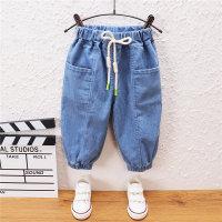 Pantalones de mezclilla de color liso para niño pequeño - Hibobi