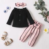 Baby Girl Solid Color Top & Stripes Pants & Headband - Hibobi
