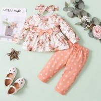 Baby Girl Floral Print Bow Decor Top y pantalones y diadema - Hibobi