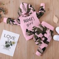 Pantalones y sudadera con capucha y pantalones de camuflaje con estampado de letras para niña pequeña - Hibobi
