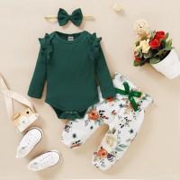 Body de color liso para bebé niña y pantalones y diadema con estampado floral - Hibobi