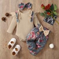 Baby Girl Body de manga larga acanalada y pantalones y diadema - Hibobi