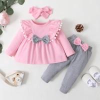 Baby Girl Bow Decor Top de color sólido y pantalones y diadema - Hibobi