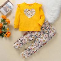 Top y pantalones de manga larga con estampado floral para niña pequeña - Hibobi