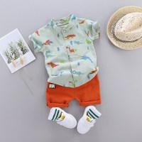 Baby Boy Dinosaur Print Stand Collar Top & Shorts - Hibobi