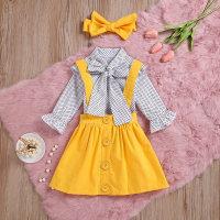Kid Girl Polka Dot Shirt & Suspender Skirt - Hibobi