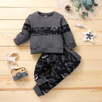 Top y pantalones con estampado de dinosaurio en bloques de color para bebé niño - Hibobi