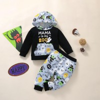 Toddler Boy Halloween Letter Print Hoodie & Pants - Hibobi