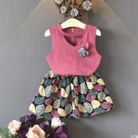Toddler Girl Flower Decor Sleeveless Top & Leaf Print Shorts - Hibobi