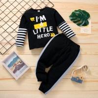 Pantalones y top de rayas con estampado de letras para niño pequeño - Hibobi